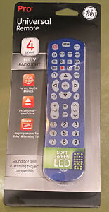 New GE PRO BLUE Universal Remote Control 4 Device TV Fully Backlight LED 45764