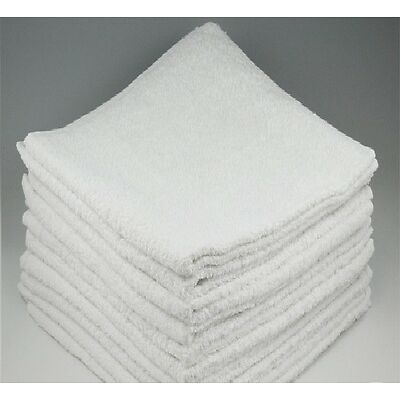12 NEW WHITE COTTON WASHCLOTHS SINGLE BORDER TERRY SHOP TOWELS HEAVY DUTY 12X12