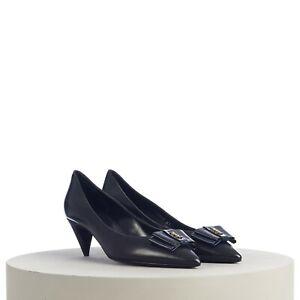 SAINT LAURENT PARIS 795$ ANAÏS YSL Bow Pumps In Smooth Black Leather