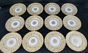 12-ELABORATE-ROYAL-DOULTON-DINNER-PLATES-GOLD-ENCRUSTED-RAISED-SCROLLWORK
