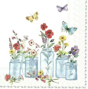 4 x Single Paper Table Napkin//Decoupage//Craft//Summer Bouquet