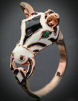 Fashion Women 18K Rose Gold GP Enamel Crystal Lovely Zebra Horse Ring Gift