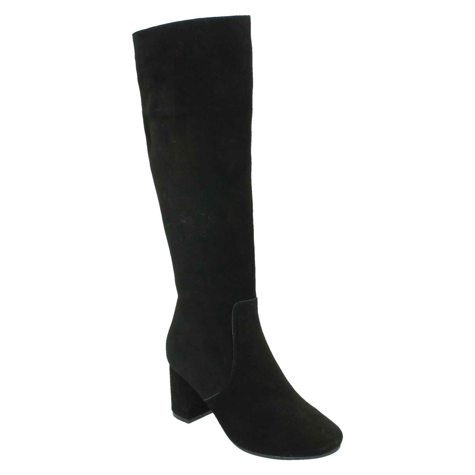 F50536 BLOCK LEATHER COLLECTION LADIES HIGH BLOCK F50536 HEEL ZIP UP SUEDE LONG WINTER BOOTS f9bb0f