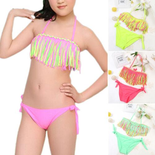 Kinder Mädchen Fransen Bikini Set Neckholder Bademode Badeanzug Schwimmanzug 152