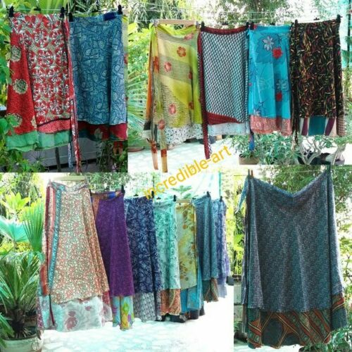 Wholesale Lot Vintage Silk Long Sari Recycled Magic Wrap Around Skirts 2 Layer