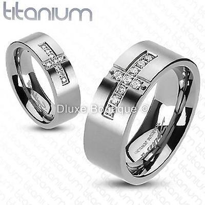 Solid Titanium Holy Cross Simulated Diamond Wedding Ring Band Size 5-13