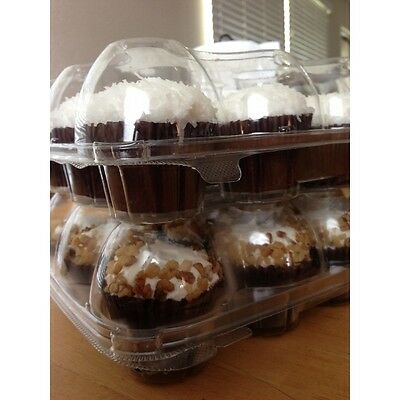 10pcs 6 Cupcake Cake Case Muffin Holder Box Container Carrier Clear Plastic