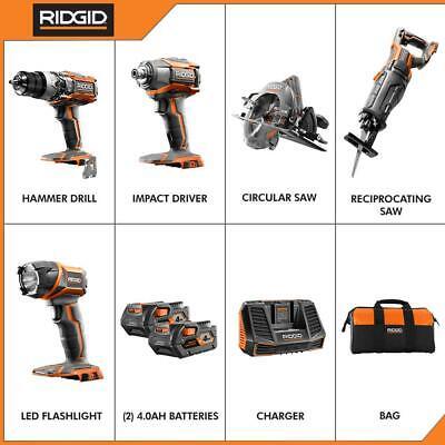 Ridgid Drill Impact Driver 2 Power Tool Combo Kit Cordless 18V Batteries Charger