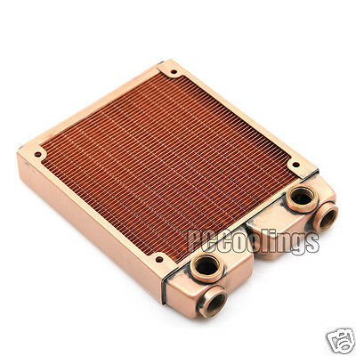 120 Radiator Full Copper 2 Extra Outlet G1/4 Thread 25mm Thick PC Water Cooling