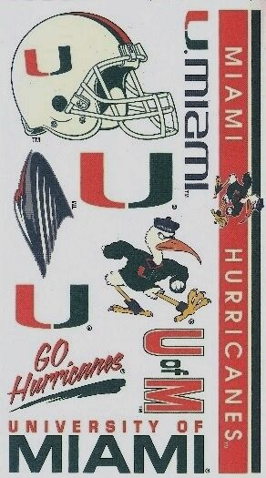 NCAA College MIAMI (FL) University Temporary Tattoos Sheet by Wincraft Inc