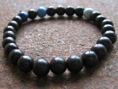Holz Armband Gummiarmband Herren Damen Surferschmuck Perlen blau braun Surfstyle
