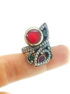 Details about Antique Turkish Jewelry 925k Sterling Silver Handmade Ruby  Ring Size 8 D1224