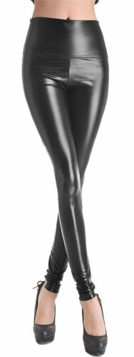 Womens Wet Look High Waist Full Length Shiny Tight Pant Ladies Leather Legging