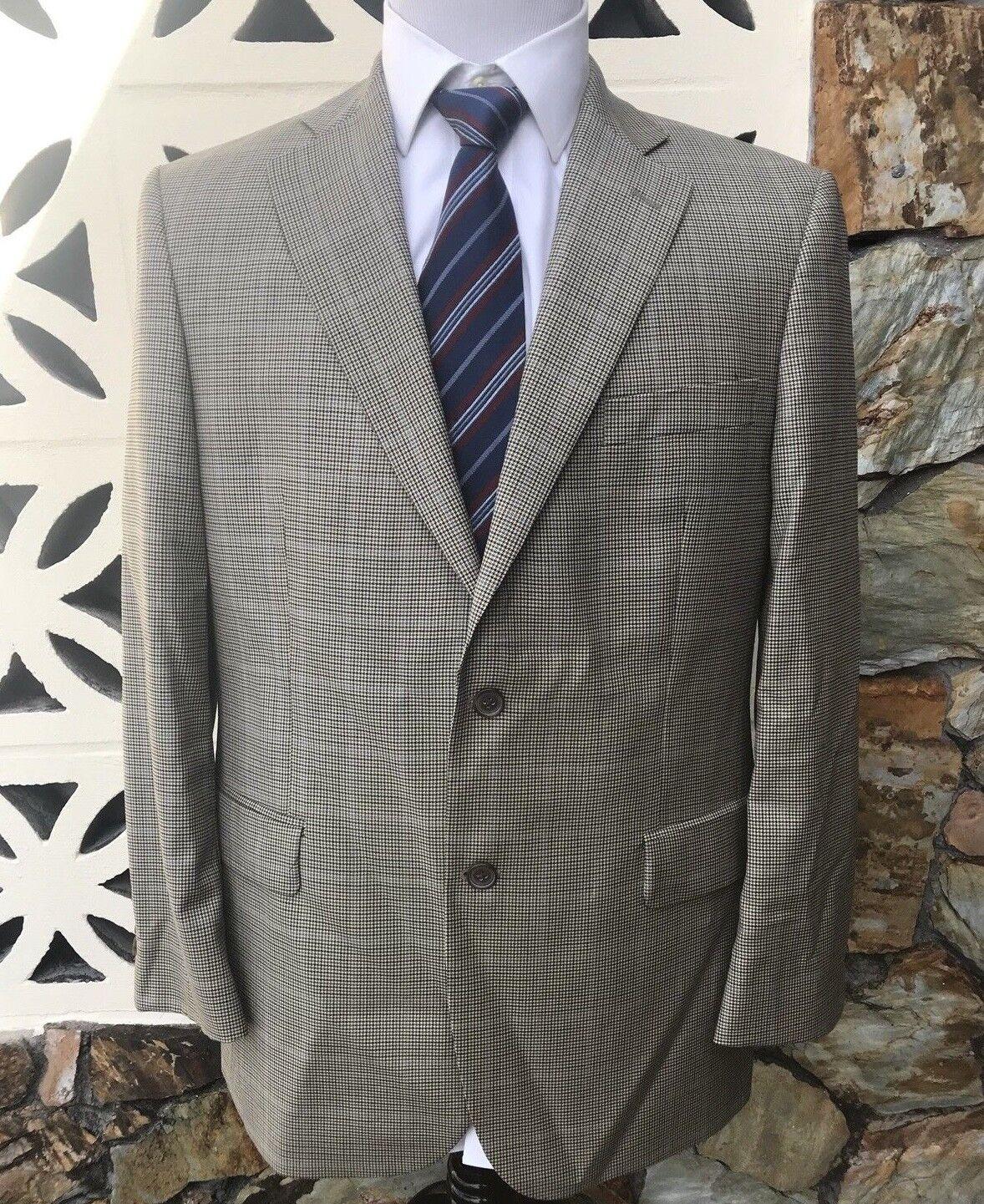 BROOKS BredHERS Men's Sports Coat Beige bluee Brown Houndstooth Size 42 R