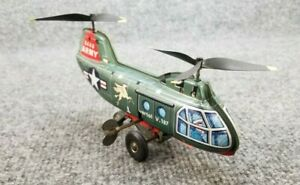VINTAGE-TIN-LITHO-WINDUP-HELICOPTER-3446-VERTOL-v-107-MADE-IN-JAPAN-WORKS