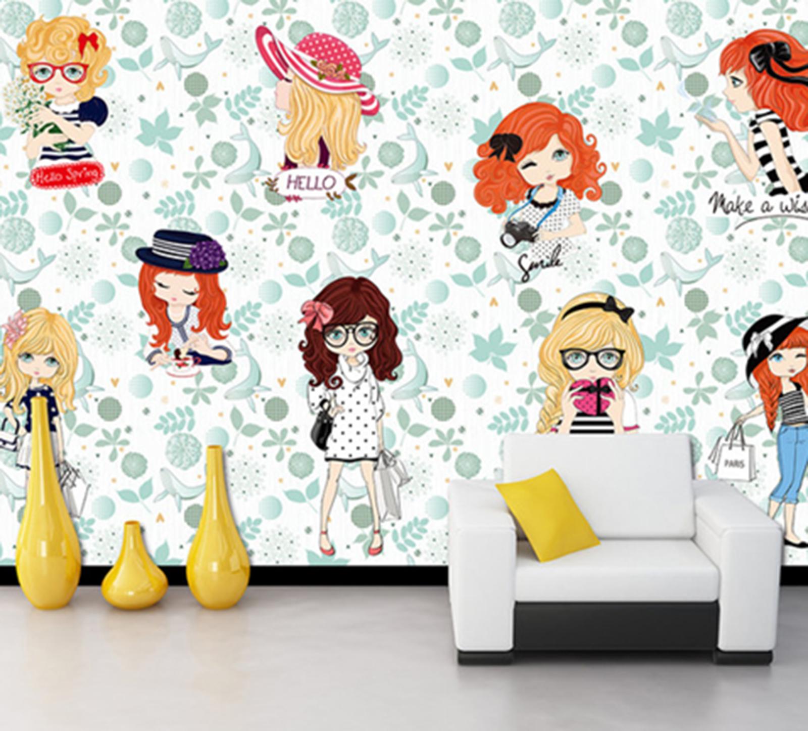 3D Girls Paint 575 Wallpaper Murals Wall Print Wallpaper Mural AJ WALL AU Kyra