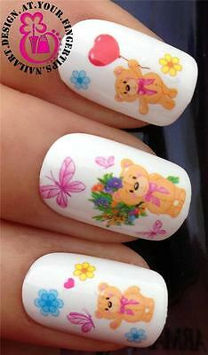 NAIL ART WATER TRANSFER DECALS SET TEDDY BEARS BUTTERFLIES FLOWERS HEARTS #216