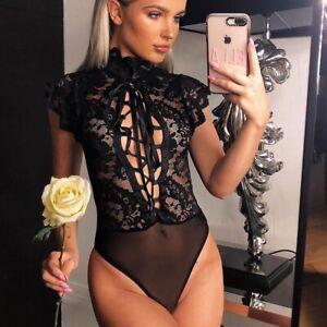 Black LACE-UP Floral LACE Bodysuit CAP SLEEVE Formal LINGERIE Teddy 10 12 14
