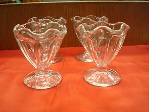 Set of 4 Clear Glass Sherbet - Ice Cream Serving Cup Bowl