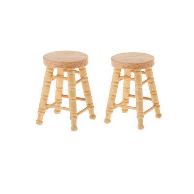 Handcraft 1:12 Dollhouse Miniature Wooden Stool Chair Dollhouse Furniture Box