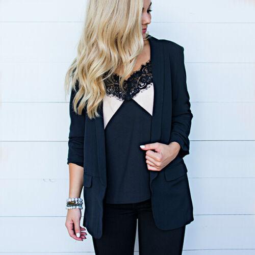 Women Collar Suit Jacket Blazer Coat Long Sleeve Cardigan Plus Size Vest UK 6-22