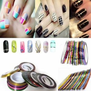Details about 8pcs Nail Art Roll Striping Tape Line Sticker Decals Tips DIY  Decoration 3mm UK
