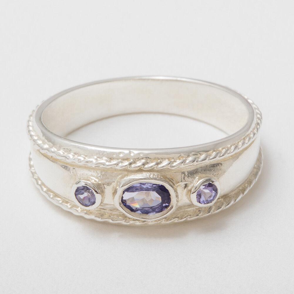 Solido 925 argentoo Sterling Naturale Tanzanite Anello da donna della della della trilogia-dimensioni J a Z 2bd8a5