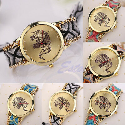 Women Geneva Ethnic Knitted Elephant Pattern Braided Quartz Bangle Wrist Watch