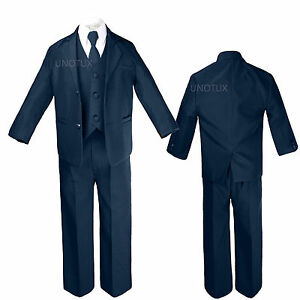 Baby-Infant-Kid-Teen-Toddler-Boy-Wedding-Party-5pc-Navy-Formal-Tuxedo-Suit-S-20