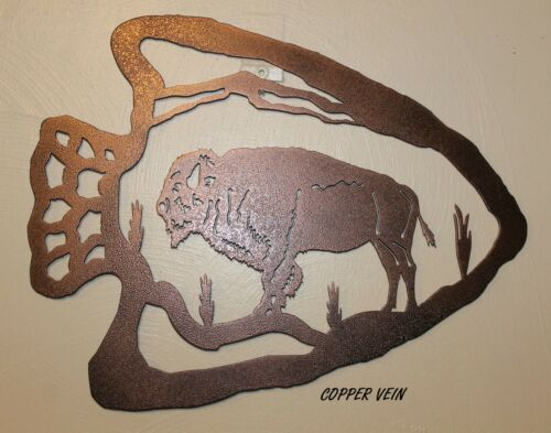 BUFFALO Sign Arrowhead Shaped Wildlife Plasma Cut Metal Wall Art Hanging