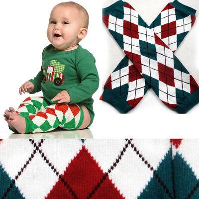 White/Green Plaid Holiday Cotton Baby Toddler Arm Leg Warmers Leggings Kids Sock