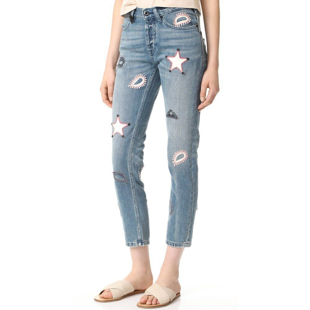 42b5b2aa63a0 New Anthropologie & Soda Leather Patch Ankle Jeans Size 24 Scotch ...