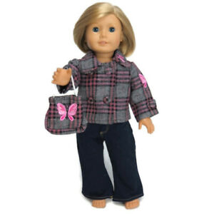3pc-Plaid-Wool-Outfit-fits-American-Girl-18-034-Doll-Clothes-Jeans-Jacket-Purse