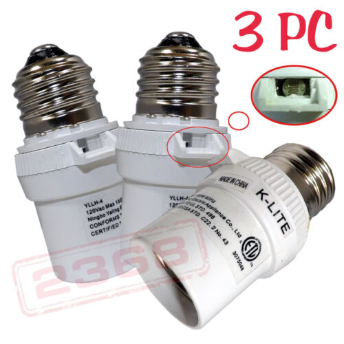 3 Pcs New Dusk To Dawn Photocell Light Control Auto Sensor Light socket White