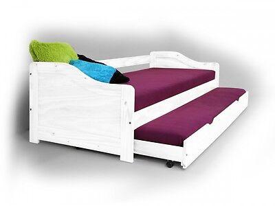LAURA Kinderbetten Tandembett Jugendbett Funktionsbett 90x200 cm Kiefer weiß