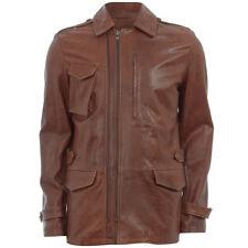 Maison Martin Margiela Brown Leather Zipped Aviator Jacket Coat -IT 48 UK 38