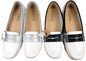 81d6020cc89 Image is loading Ladies-Leather-Loafer-shoe-Flat-Comfort-Casual-Womens-