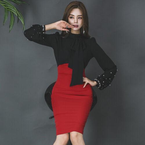 vestito corto abito tubino elegante nero rosso morbido moda manica 4841
