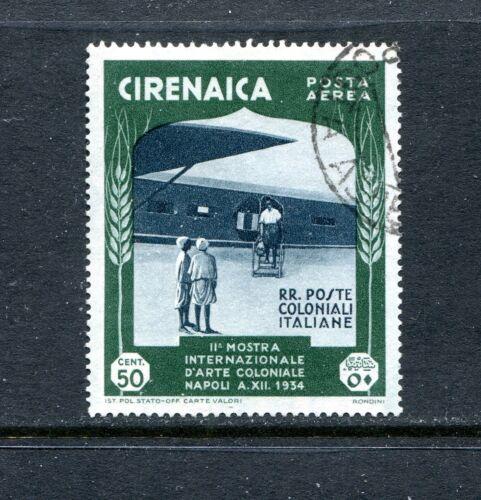 CYRENAICA C25, 1934 50c TRANSPORT PLANE, USED, (ID4771)