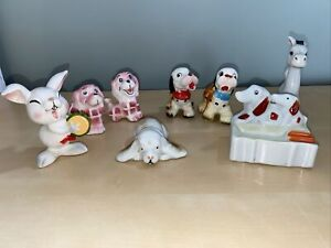 Vintage Japan Ceramic animal Figures Lot of 8 Kitsch