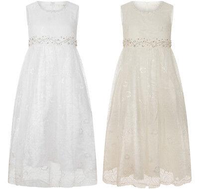 Girls Teenage Sleeveless Lace Sequin Formal Bridesmaid Wedding Dress Gown C8209