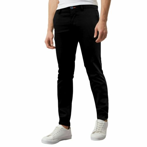Mens Designer Trousers Chinos Stretch Skinny Slim Fit Pants All Waist Sizes New