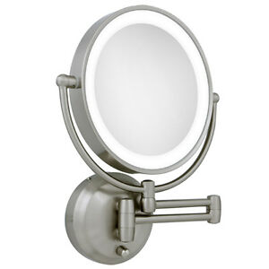 Zadro 10x 1x Led Lighted Round Satin Nickel Wall Magnifying Makeup