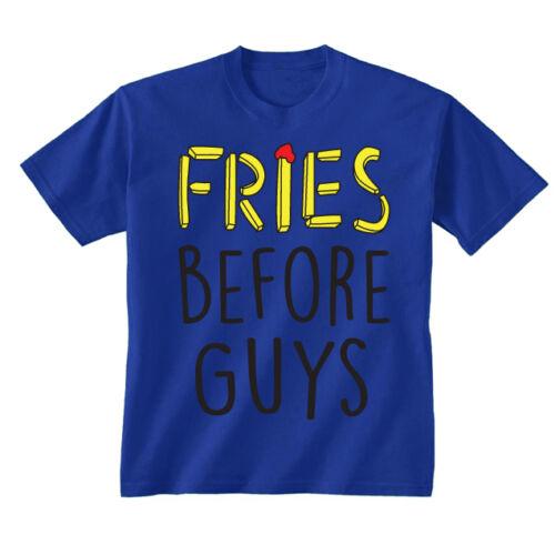 Kids Childrens Fries Before Guys Chips Funny Slogan T-shirt 5-13 Years