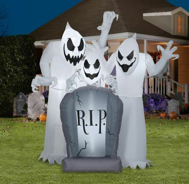 4 LED Ghost On Tombstone Halloween Inflatable