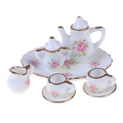 8Pcs 1//12 Dollhouse Miniature Dining Ware Porcelain Tea Set Dish Cups BP