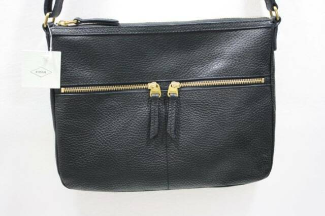 wholesale sales undefeated x huge selection of NWT Fossil Elise Large Black Leather Crossbody Bag SHB1305001
