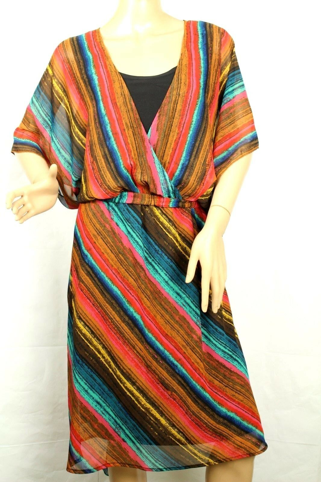 Robbie Bee Signature Women's Dress Credver Butterfly Sleeve Sz 14