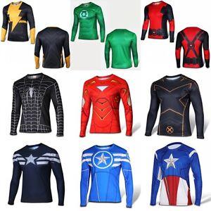 più recente ccd58 8c8a0 Dettagli su Maschi Supereroi Batman Lunga T-Shirts e top maglia Uomo  abbigliamento ciclismo