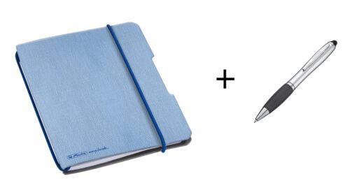 flex 40 Bl.// kariert Leinencover A5 Notizheft Touchpen Kugelschreiber